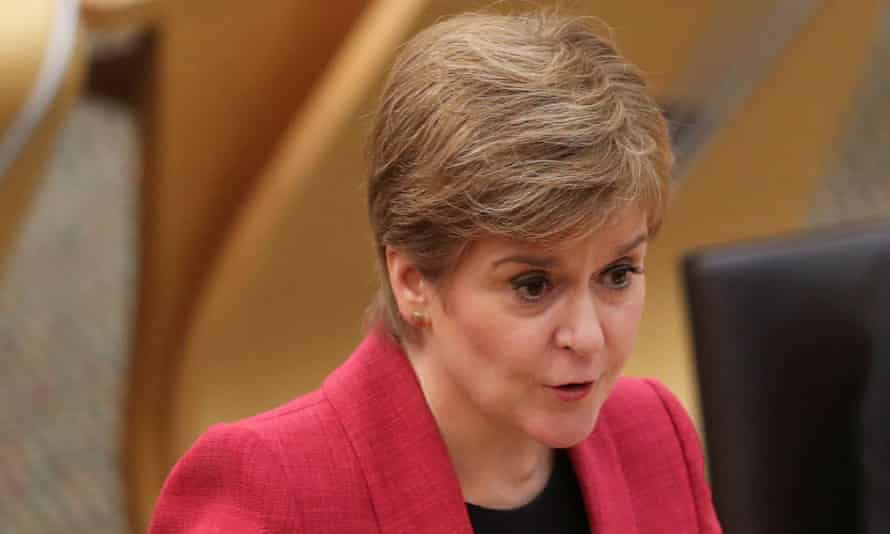 Nicola Sturgeon speaks during the First Minister's Questions at the parliament in Edinburgh