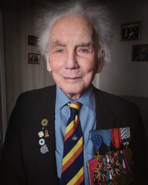 Former British army corporal Ian Forsyth, now 96, is wearing many military medals. He was one of the first soldiers to liberate Bergen-Belsen.