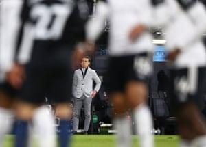 Fulham manager Scott Parker looks on.