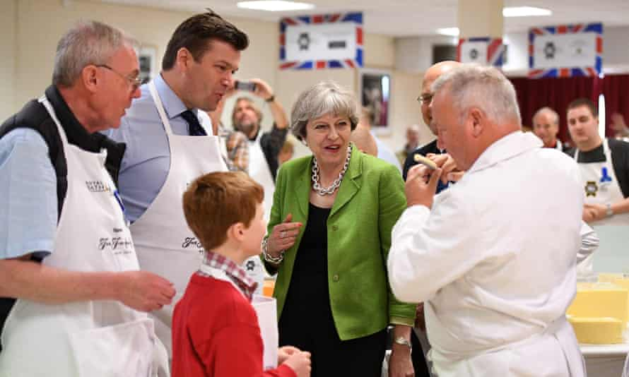 Theresa May campaigning in Shepton Mallet, Somerset, May 2017