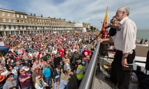 Jeremy Corbyn addressing a campaign rally in Ramsgate.