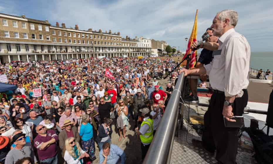 Jeremy Corbyn at a leadership campaign rally in Hastings