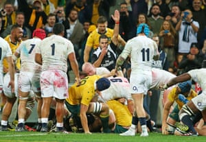 Craig Joubert signals a much-needed try for Australia's Stephen Moore.