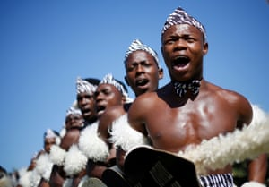 Durban, South Africa Contestants sing as they begin their routine during the annual Ingoma traditional Zulu dance competition