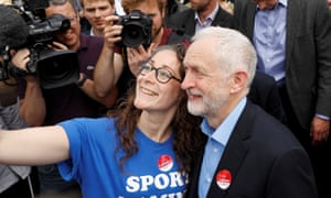 Jeremy Corbyn, leader of Britain's opposition Labour Party, poses for a selfie at a campaign event in Reading.