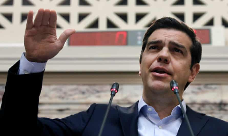 Greek prime minister Aleixis Tsipras addresses Syriza parliamentarians in Athens on Friday.