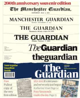 Front page of the Guardian 200th birthday souvenir wraparound