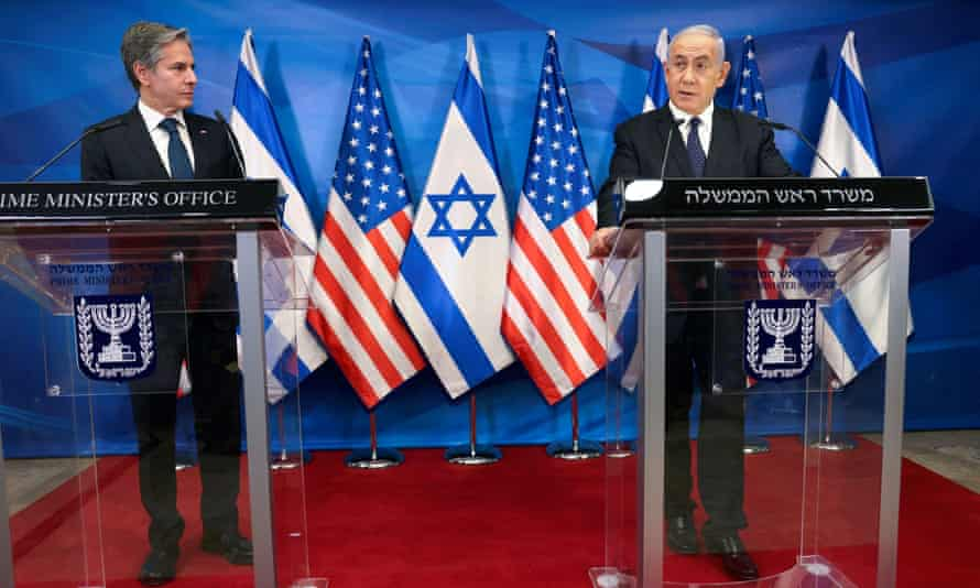 US secretary of state Anthony Blinken and Israeli prime minister Benjamin Netanyahu at a joint news conference in Jerusalem on 25 May.