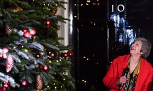 Few things were looking up for Theresa May as she switched on No 10's Christmas lights.