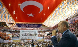 The Turkish president, Recep Tayyip Erdoğan, delivers a speech at a campaign rally