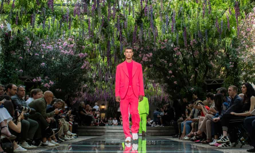 Standout suits … a model walks down the catwalk at the Versace spring/summer 2019 show in Milan.