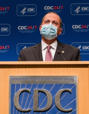 US Health and Human Services Secretary Alex Azar gives an update on the administration's Covid-19 response and progress on vaccines at the Centers for Disease Control and Prevention (CDC) HQ in Atlanta last month.