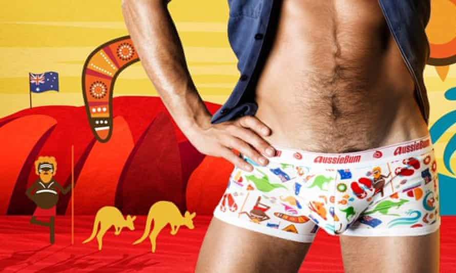 The ad for underwear brand AussieBum's new Australia Day collection.