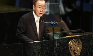 Ban Ki-moon addresses world leaders assembled in New York