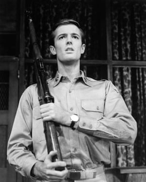 Fonda, 21, performs on Broadway in New York City in Blood, Sweat and Stanley Poole, a drama revolving around army life, on 27 September 1961