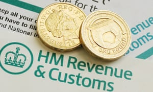 Pound coins on top of the HMRC logo