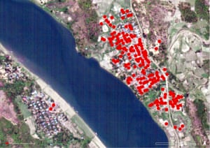 Satellite image recorded on May 14, 2020, showing approximately 180 buildings affected by fire in Pyaing Taing, Rakhine State that likely occurred between March 22 and 23, 2020. The damages reported are most likely an underestimate as internal damage is not visible. Damage analysis by Human Rights Watch