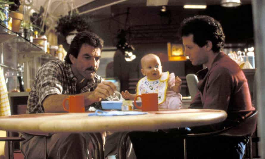 With Tom Selleck in Three Men and a Baby, 1987.