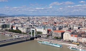 View from over the Danube to Pest, Budapest, Hungary