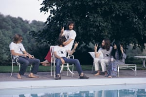 Relaxation Zone ... the day after the Plastic Ono Band played Toronto;  from left to right, drummer Alan White, Eric Clapton, Klaus Voormann, John Lennon and Yoko Ono.