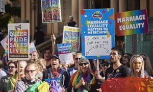People call for marriage equality at a rally outside Sydney's Town Hall on Sunday.