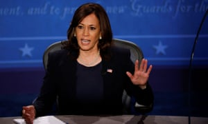Democratic vice presidential nominee Senator Kamala Harris and U.S. Vice President Mike Pence participate in their 2020 vice presidential campaign debate in Salt Lake City<br>Democratic vice presidential nominee Senator Kamala Harris speaks during the vice presidential campaign debate with  U.S. Vice President Mike Pence held on the campus of the University of Utah in Salt Lake City, Utah, U.S., October 7, 2020. REUTERS/Brian Snyder