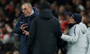 Chelsea manager Maurizio Sarri and assistant manager Gianfranco Zola remonstrate with the fourth official.