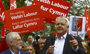 Welsh Labour leader Carwyn Jones (right) campaigns alongside UK Labour leader Jeremy Corbyn in Whitchurch.