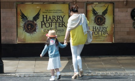 Harry Potter posters outside the Palace theatre in London.