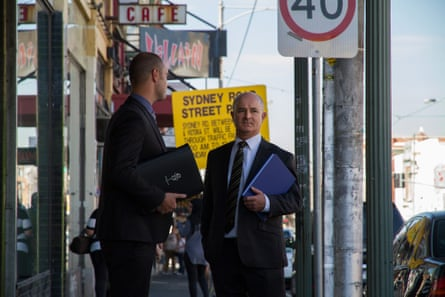 Two investigators on the Jill Meagher case, Paul Rowe and David Butler, on Sydney Road in Melbourne, where the ABC radio producer was last seen