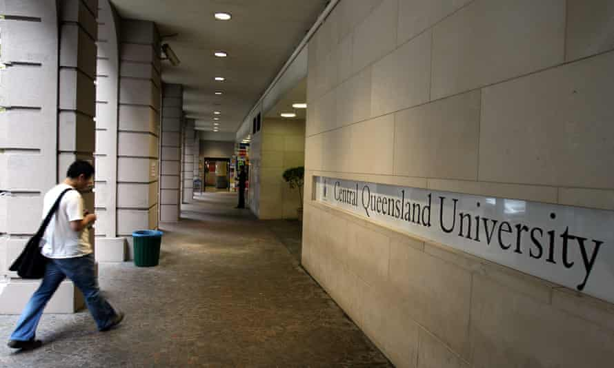 A student walks into the Central Queensland University's Sydney campus