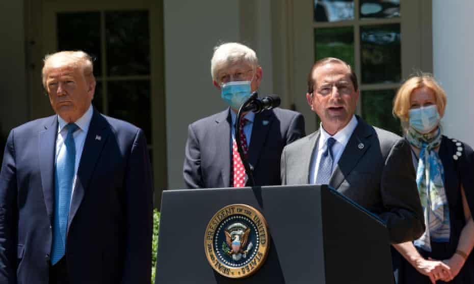 The US health secretary, Alex Azar, speaks at the White House last week.