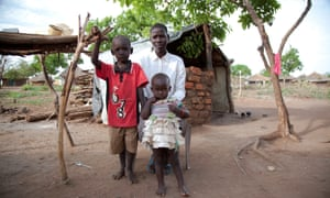 A female refugee with her children inside the Bidi Bidi camp in northern Uganda
