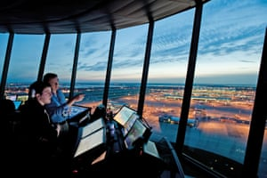 Sunsets from the top of the 87m-high control tower can be quite spectacular