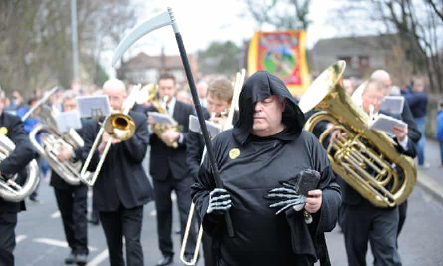 The march in Knottingley, West Yorkshire