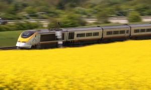 Eurostar train on the HS1 route HS1 train track near Charing, Kent, Britain