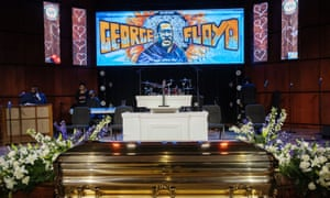 The casket of George Floyd before a memorial service for Floyd following his death in Minneapolis police custody.