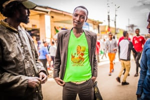 Man wears an Abiy Ahmed T-shirt in Addis Ababa