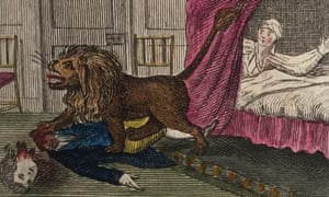 An illustration of a lion beheading a man.