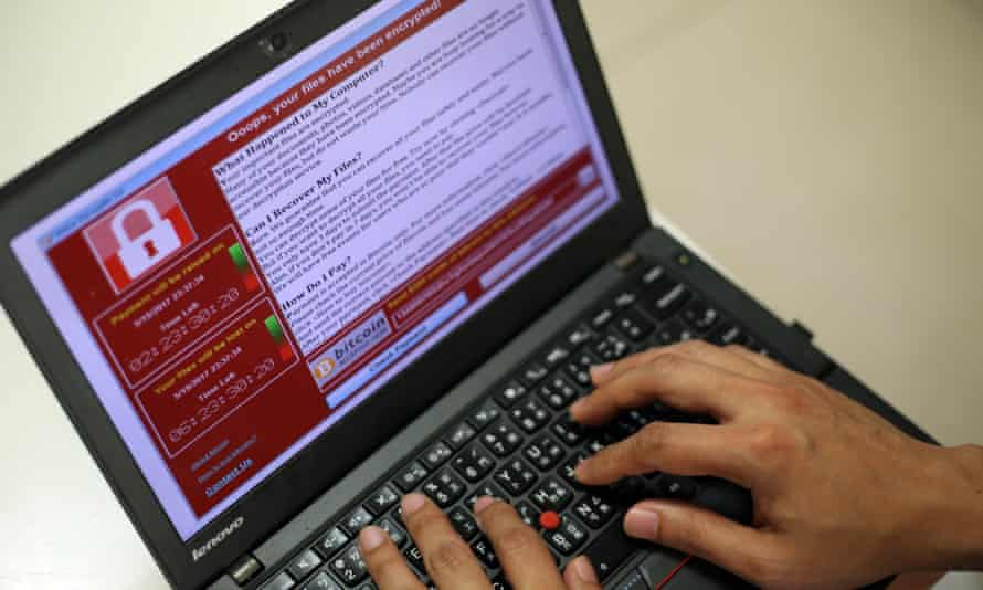 A computer suffering from a ransomware attack