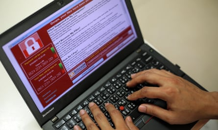wannacry on a laptop