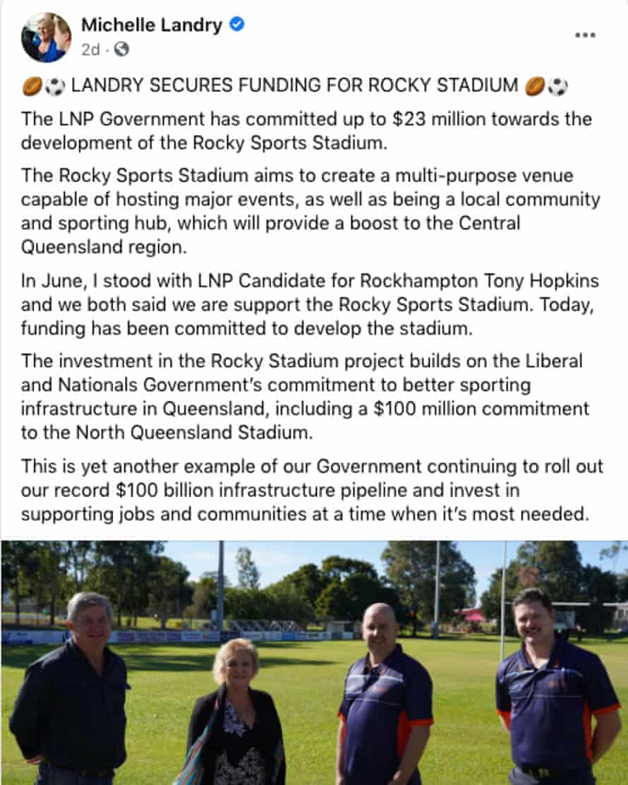 LNP candidate Tony Hopkins and Nationals MP Michelle Landry announcing Rocky Sports Club grant on 14 September, 2020