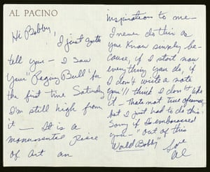 Pacino was knocked out by De Niro's portrayal of LaMotta. His note is one of many in De Niro's archives