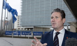 Sir Keir Starmer, the shadow Brexit secretary, in Brussels for his meeting with EU officials.