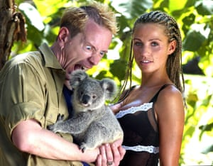 Jordan and John Lydon with a Koala before I'm a Celebrity ... Get Me Out Of Here !