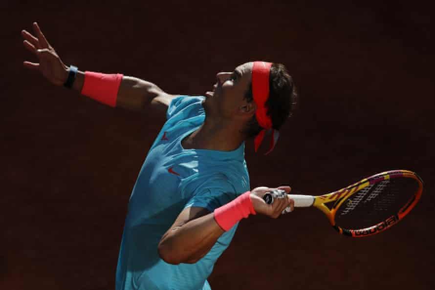 Spain's Rafael Nadal serves against Argentina's Diego Schwartzman in their French Open semi-final at Roland Garros in Paris on 9 October.