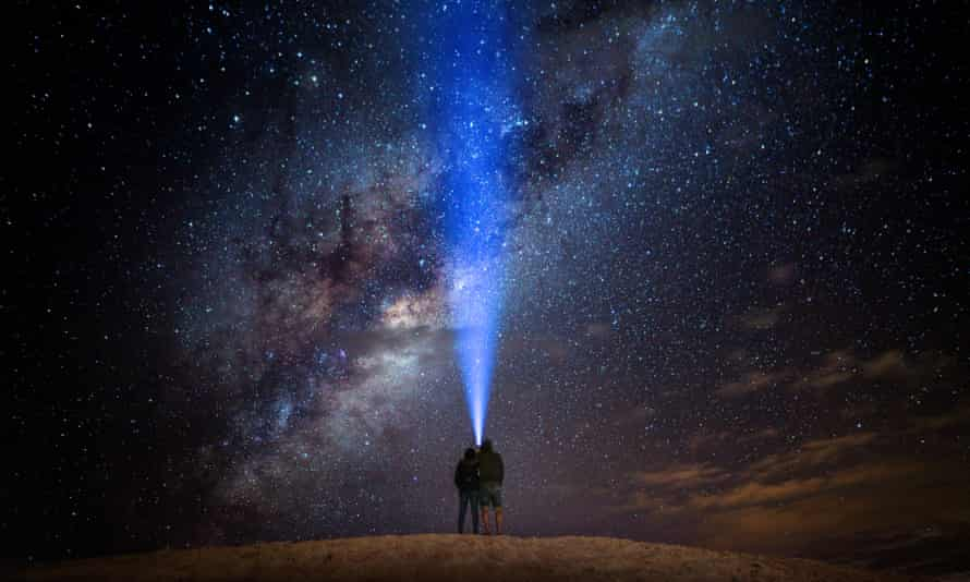 tourists stargazing at the Lancelin sand dunes near Perth
