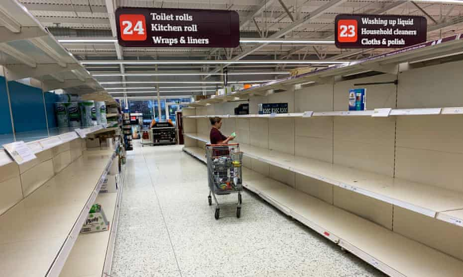 Empty Shelves at Sainsburys (Scarborough) illustrate the amount of Stockpiling some members of the public are doing during the Coronavirus Crisis in the UK.
