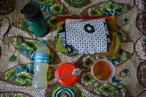 Zaituni's bag: thermos, drink, meal, swaddling clothes
