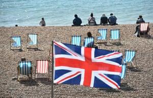 Union flag on beach
